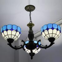 Wholesale Blue Wrought Iron Lamp Tiffany Style Chandeliers Hanging Light from china suppliers