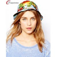 Wholesale Flat Crown Fisherman Bucket Hat , Breathable Women Blue Tropical Hat from china suppliers