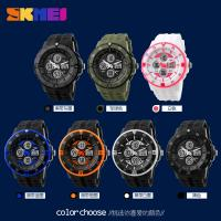 Wholesale Outdoor Mens Plastic Analog Digital Watch Double Time Zone 50M Waterproof from china suppliers