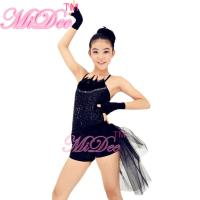 Buy Black Swan Feather Neckline Jazz Dance Outfits With Back Side Suttle Velvet Shorts at wholesale prices