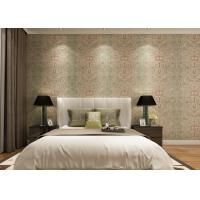 Rustic Embossed Washable Vinyl Wallpaper , Symmetrical Floral Pattern Wallpaper
