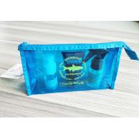 Quality Bright Blue Waterproof Travel Kit Zipper Cosmetic Pouch Transparent Vinyl Make-Up Pouch for Travel and Beach for sale