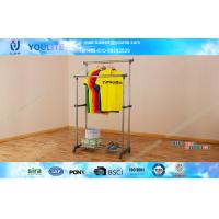 Wholesale Outdoor Floor Standing Double Pole Clothes Rack / Metal Drying Rack with Casters from china suppliers
