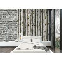 Quality PVC grey 3D home birch tree wallpaper decoration for living room , deep embossed for sale