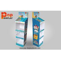 Wholesale 4 Tiers Blue Cardboard Floor Display Stands Glossy Lamination Coating from china suppliers