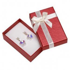 Faux Velvet Insert Jewelry Gift Boxes , OEM / ODM Jewelry Box For Pierced Earrings