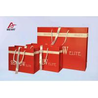 Quality Red Art Paper Bags / Colored Paper Gift Bags Middle Hole Glued White Ribbon for sale