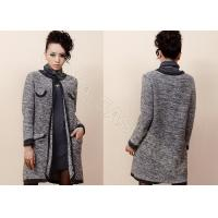 Wholesale Grey Flower Mohair Womens Cardigan Sweaters Coat with Pockets / Crew Neck from china suppliers