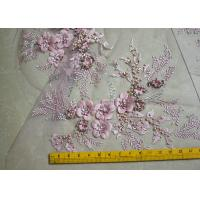 Embroidered 55 Inch Peach Color 3D Floral Rose Lace Fabric With Beads And Sequins