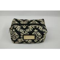 Beautiful Black and off - white ladies cosmetic bags with Metal nameplate