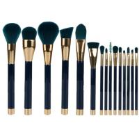 15 Pieces Popular Makeup Brushes Made Of Three Color Nylon Hair And Gold Aluminum
