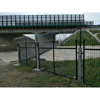 Quality Powder Coated Anti Climb Fencing With Barded Wire At Top Of Fence for sale