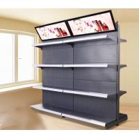 Customized Size Metal Supermarket Display Shelving With Advertising Board