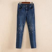 Quality Non Fading Dark Blue Wide Leg Womens Tapered Jeans With Embroidered Flowers for sale