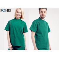 Quality Mens Medical Scrubs Uniforms , Short Sleeve Cotton Surgical Gown Green for sale