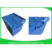 Quality Moving Crate Plastic Attached Lid Containers for Tool , Easy To Clean 75*57*62.5CM for sale