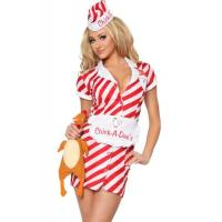 Quality Uniform Womens Sexy Costumes Air Hostess Pilo Cosplay White Red for sale