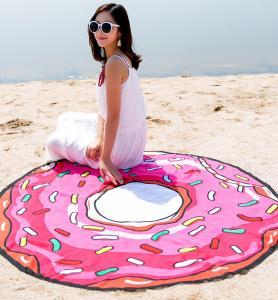 Large Donut  Microfiber Printed Round Beach Towels With Tassel Circle Beach Towel Serviette De Plage