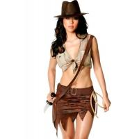 Quality Indiana Jane Jungle Sexy Lingerie Catwoman Costume , Wild West Cowgirl Fancy Dress for sale