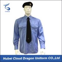Quality Soft CVC Twill Security Guard Uniform Shirts / Long Sleeve Dress Shirt , OEM / ODM Service for sale