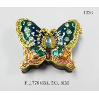 Wholesale Design Cute Love Butterfly Round Metal Small  Jewelry Boxes from china suppliers