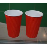 Red PE Coated Paper Ripple Paper Cups Insulated Coffee Cups With Lids 500ml