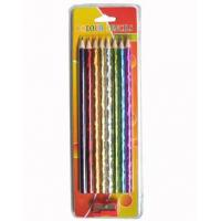 Wholesale laser colorful pencils,8pk striped color pencils with pencil sharpener in pvc package from china suppliers