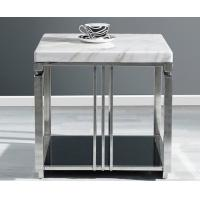 White Quartz Top Hotel Side Table Metal Frame With Stainless Steel Polished
