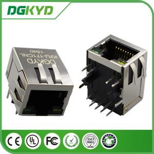Custom 10/100base - T rj45 modular connector with Transformer 1 x 1 Tab Down