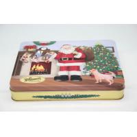 Santa Big Christmas Gift Candy Tin Boxes With Lids Customized FDA ROHS