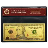 Wholesale USD 10 Dollar 24 Kt Gold Banknote , Paper Gold Money Decoration Article from china suppliers