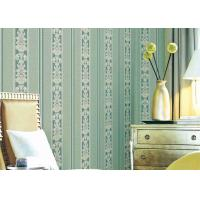 Quality European Style Concise Embossed Wallpaper , Striped Damask Wall Covering for sale