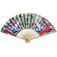 Transfer Printed Pattern Parrot Paper Folding Fans for Souvenir and Promotion