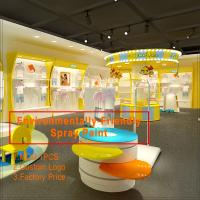 Colorful baby clothes retail store interior and exterior design of