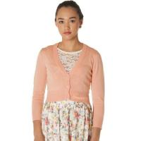 Clothing Sugar Drop Crop Cardi in Coral Peach