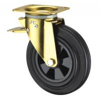 8 INCH INDUSTRIAL GARBAGE CAN CASTOR WHEEL - TOP PLATE FITTING - TOTAL BRAKE