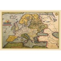 "Quality Nautical Chart 1602 Ortelius Map of Europe Print Poster 20"" x 30"" for sale"
