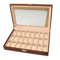 Wholesale 24 Slots Mens Watch Box PU Leather Watch Case Glass Top Watch Display Organizer from china suppliers