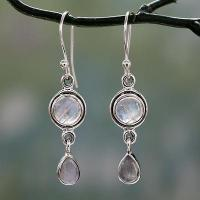 Quality Moonstone Earrings in Sterling Silver Handmade in India, 'Shimmer' for sale