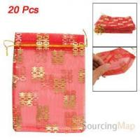 Quality 20 Pcs Gold Tone Double Happiness Printed Red Organza Gift Bags Gifts Packaging & Display for sale