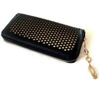 Quality Black with Golden Lining PU Hollowed Checkbook Holder for sale