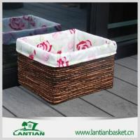 Quality Cheap square lined handmade wicker storage basket for sale