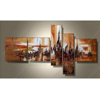 Quality MODERN ABSTRACT HUGE WALL DECORATE ART OIL PAINTING YELLOW 5pcs AB141 for sale