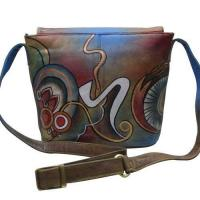 Quality Women Hand Painted Cross Body Sling Bag Stylish Abstract Designer Leather Shoulder Vanity Purse for sale