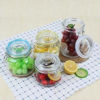 Food safe glass airtight Clip Top jar with glass lid rubber rings mason jar